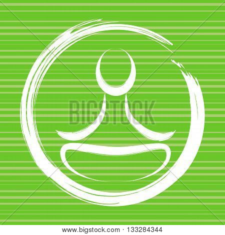 Stylized yoga meditation icon and enso symbol. Yoga lotus pose on green background. Vector yoga lotus position. Zen mindfulness.