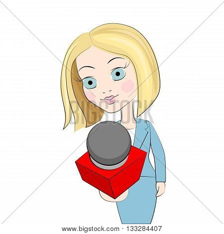 Journalist with microphone. Journalist concept art. Journalist interviews. Young woman with microphone. Professional communication vector illustration