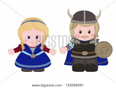 Cartoon characters of Vikings man and woman in in ancient scandinavian clothing. Vector illustration