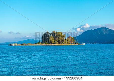 Monastery On Pontikonisi Island, Corfu, Greece