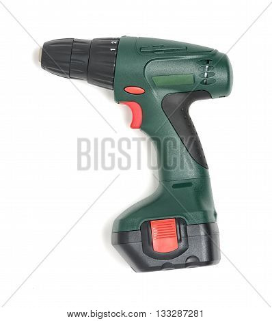 Compact, solid and comfortable to hold in a hand electric drill. Cut-out image. Top view. Tool for repair and service. Construction instrument and tool. Mend and repair.