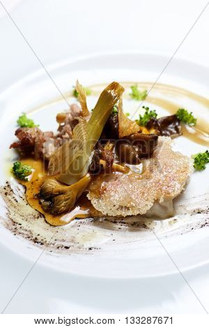 Lamb with grilled with vegetables.