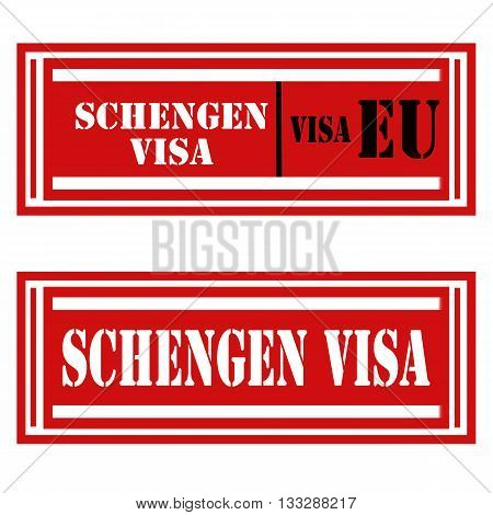 Set of stamps with text Schengen Visa,vector illustration