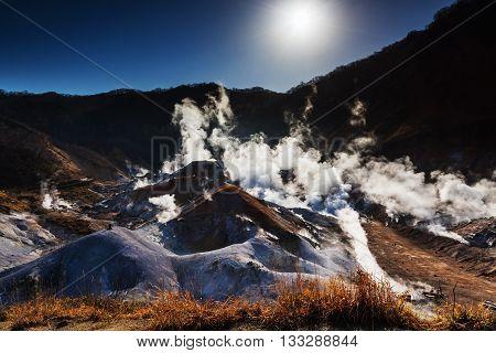 Jigokudani Or Hell Valley Against Sunrise, Noboribetsu