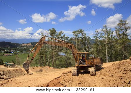 KOTA KINABALU, MALAYSIA - 07 JUNE 2016: Deforestation. Destruction of natural environment in Borneo, as rain forest destroyed for construction projects.
