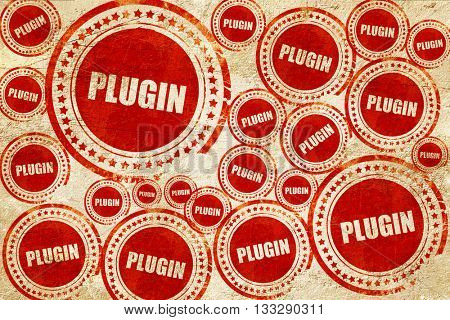 plugin, red stamp on a grunge paper texture