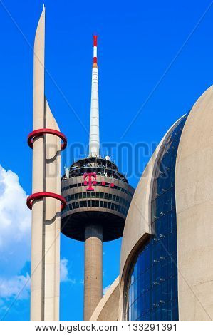 Radio Tower Called Colonius And Modern Islamic Mosque In Cologne, Germany