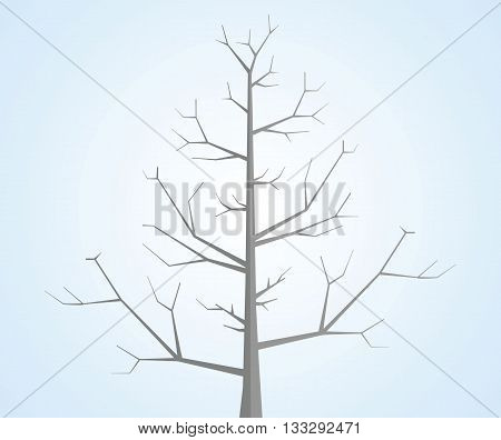 Tree without leaves on blue background. Vector illustration