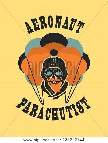 Vector illustration in retro style skull dead parachutist in helmet pilot parachute should be head