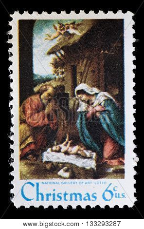 United States Used Postage Stamp Showing Religious Painting, Lorenzo Lotto