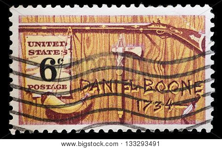 United States Used Postage Stamp Commemorating Explorer Daniel Boone