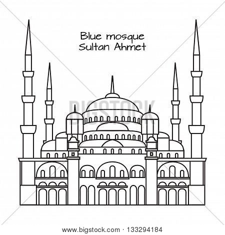 The Blue Mosque Sultanahmet Camii Istanbul Turkey middle east islamic architecture outline