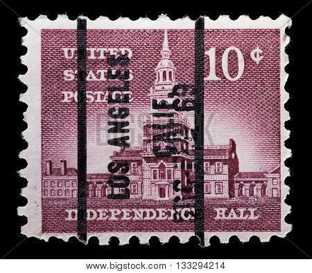United States Used Postage Stamp Showing The Independence Hall