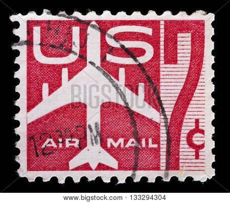 United States Used Postage Stamp Showing A Jet Silhouette