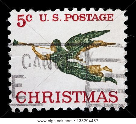 United States Used Postage Stamp Showing Angel Gabriel With Trumpet