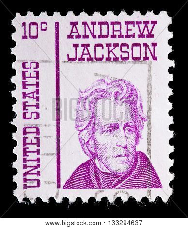 United States Used Postage Stamp Showing President Andrew Jackson