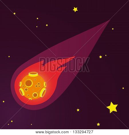 meteor vector illustration. space and stars backgroun