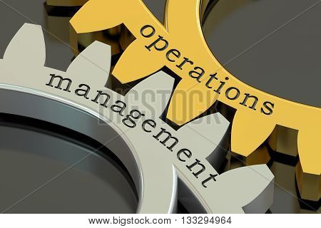 Operations Management concept on the gearwheels 3D rendering