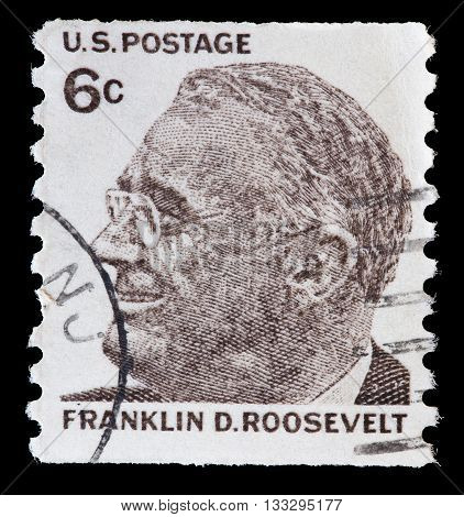 United States Used Postage Stamp Showing President Franklin Delano Roosevelt