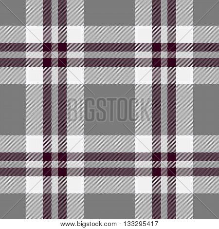 Traditional Scottish grey tartan pattern with claret stripe made seamless for kilt or bandana