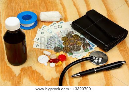 Stethoscope On Polish Money  - Medical Concept