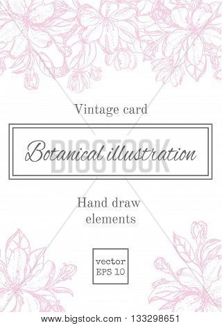 Romantic background. Vector illustration. Vintage card with garden flowers. Hand drawn apple tree flowers. Vector illustration blooming branches cherry pear flower.