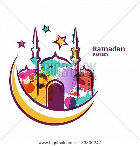 Ramadan Kareem Greeting Card With Watercolor Isolated Illustration Of Multicolor Mosque On Moon. Vec
