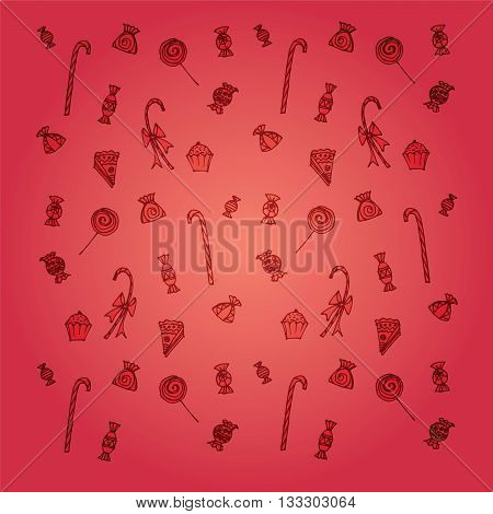 Candy sweets cake confectionary background. Red background with sweets
