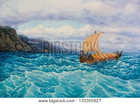 Oil painting on canvas. The rook with the vikings sailing along the rocky coast