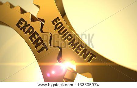 Golden Metallic Cogwheels with Equipment Expert Concept. Equipment Expert on Mechanism of Golden Cogwheels with Glow Effect. Equipment Expert Golden Metallic Gears. 3D.