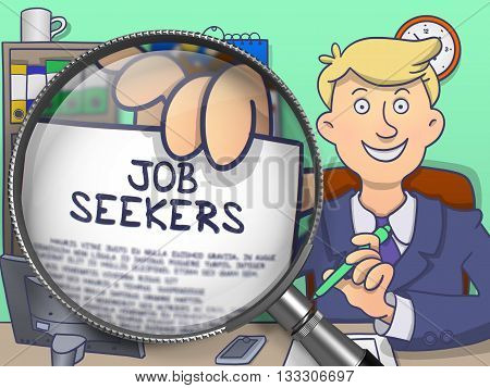 Job Seekers. Cheerful Officeman in Office Shows Paper with Text through Magnifying Glass. Colored Doodle Illustration.