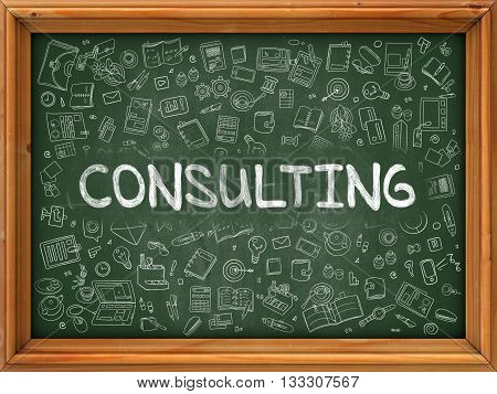 Consulting Concept. Modern Line Style Illustration. Consulting Handwritten on Green Chalkboard with Doodle Icons Around. Doodle Design Style of  Consulting Concept.