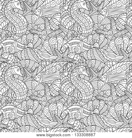 Black and white seamless pattern for coloring book. Sea shells, starfish, sea horse, fish doodle hand drawing background