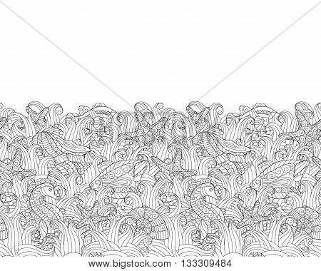 Seamless border of various sea life. Coloring book page. Exotic fishes, sea horse, starfishes, shells between seaweed. Vector illustration on white background. Doodle.