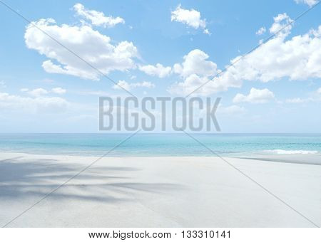 View of nice tropical beach with blue sky above
