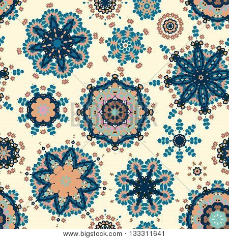 Ethnic pattern in blue beige color with stylized flowers, leaves and circular shapes with Kazakh, Turkish, Uzbek motifs Seamless vector texture for print, spring summer fashion, fabric, textile