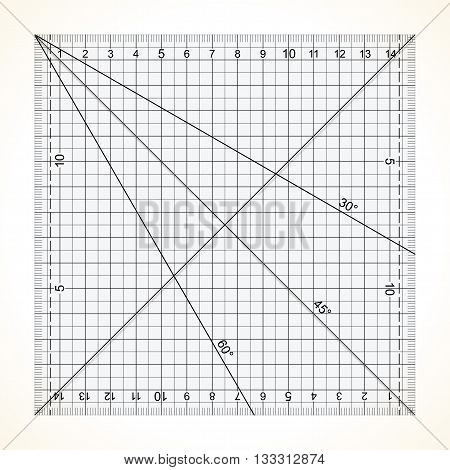 Square transparent ruler for quilting with millimeter scale vector illustration