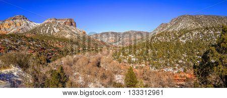 Panoramic view of Oak Creek Canyon near Sedona, Arizona in winter