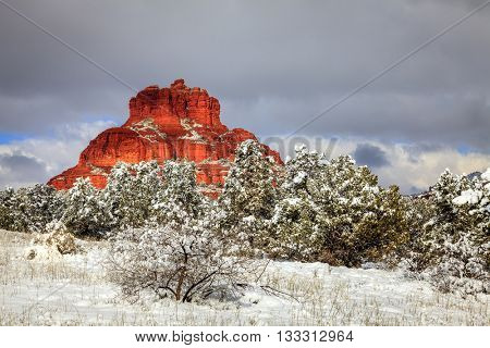 Bell Rock formation in Sedona, Arizona after heavy snow storm