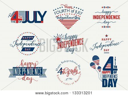 Happy Independence Day. Fourth of July - July4th banner, label or poster. Vector Set