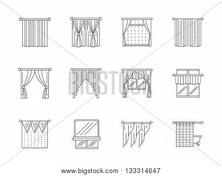 Different curtains and blinds for interior design. Living room, kitchen, cafe, shower curtain and others. Set of flat line style vector icons.