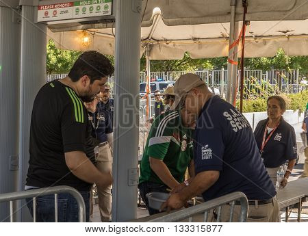 Glendale,Westgate,Phoenix,Arizona,USA, Jun 5th,2016. Mexico vs Uruguay 2016 Copa America Centenario.  Security screenings and clear bag policy enforced for soccer game.
