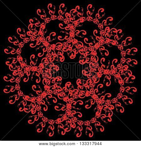 black florid pattern. black florid pattern on pale pink background