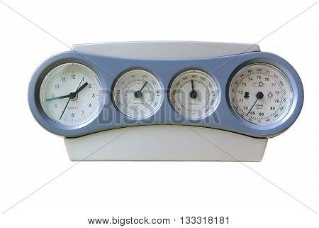Clock-weather station with a record-low readings of atmospheric pressure isolated on white background