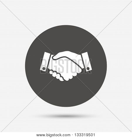 Handshake sign icon. Successful business symbol. Gray circle button with icon. Vector