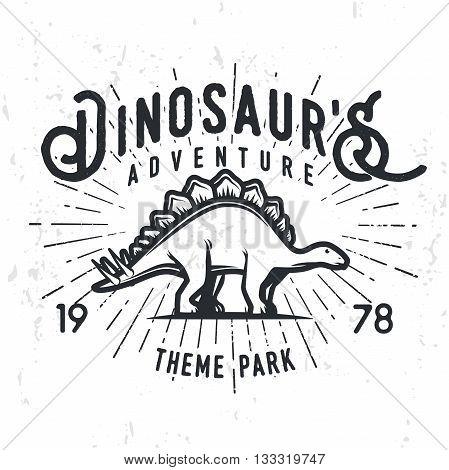 Vector dinosaur adventure logo concept. Stegosaurus theme park insignia design. Jurassic period illustration. Vintage T-shirt badge on grunge background.