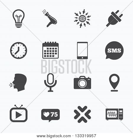 Calendar, go to web and like counter. Home appliances, device icons. Electronics signs. Lamp, electrical plug and photo camera symbols. Sms speech bubble, talk symbols.