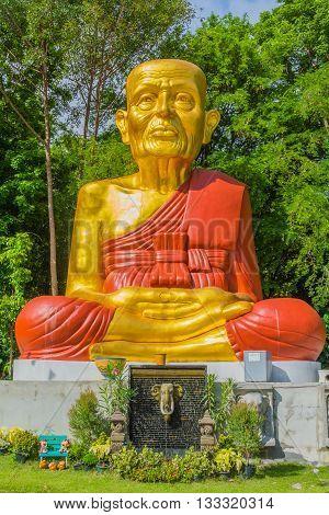 Buddhist monk image in a temple in Saraburi Thailand.