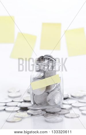 The financial reserves, coins in the glass jar - savings concept,