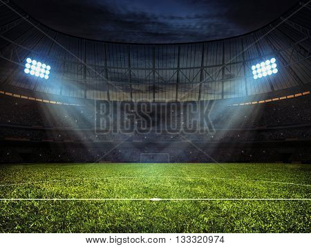 3d rendering of sport concept background - soccer footbal stadium with floodlights. Grass fooball pitch with mark up and soccer goal with net